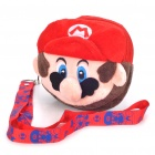 Cute Super Mario Figure Plush Double Zipper Bag with Strap - Red + Brown