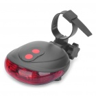 UFO Style 3-Mode Red 3-LED Safety Bike Tail Light with 2-Red Laser Beam - Black (2 x AAA)
