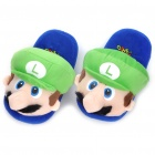 Cute Super Mario Plush Feet Warmer Slippers - Blue + Green + White
