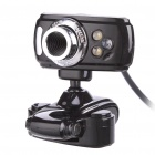 Clip-On USB 3.0 1.8MP CMOS PC Camera Webcam with Microphone / White 3-LED Illumination Light - Black