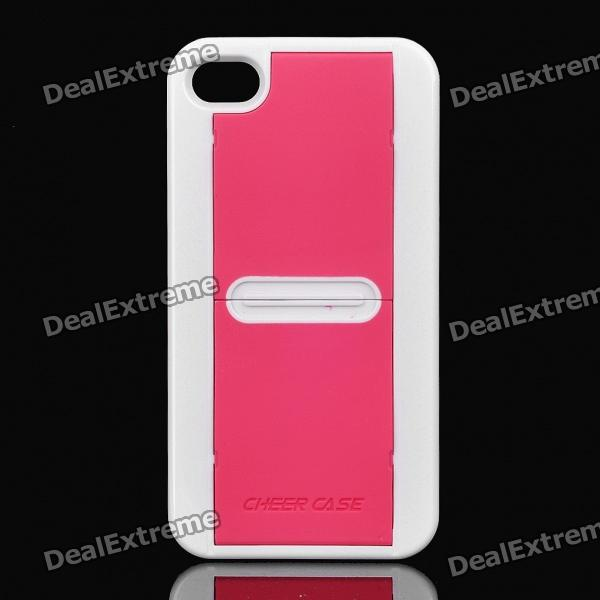 Protective Slip Sheets Back Case w/ Screen Protector for Iphone 4 / 4S - White + Pink