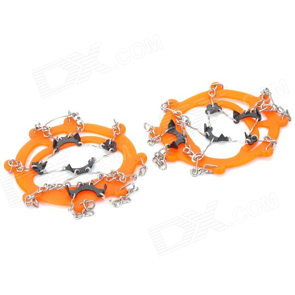 Round Snow Ice Climbing/Mountaineering Shoes Crampons - Orange (Pair)