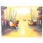Handmade Hand Painted Oil Painting with Wood Frame - Harbor