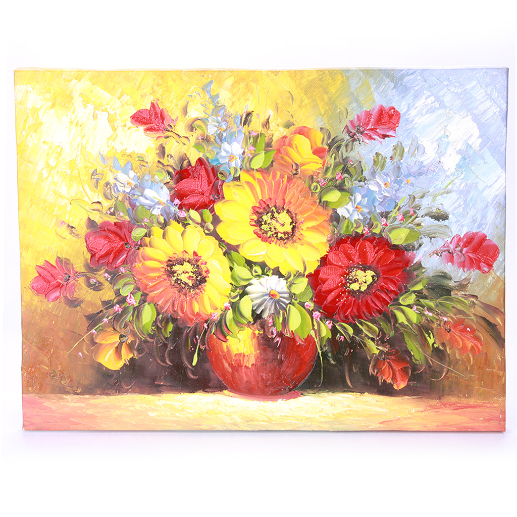 Handmade Hand Painted Oil Painting with Wood Frame - Flowers 2