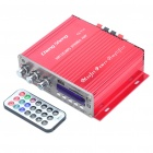 "1.8"" LED 80W Hi-Fi Stereo Amplifier MP3 Player w/ FM / SD/ USB for Car / Motorcycle - Red + Silver"