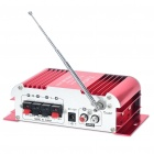 "1.8"" LED 40W Hi-Fi Amplifier MP3 Player w/ FM / SD/ USB for Car / Motorcycle - Red + Silver"