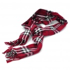 Classic Cotton Check Plaid Scarf Shawl - Dark Red