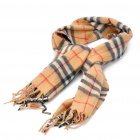 Classic Cotton Check Plaid Scarf Shawl - Yellow Brown