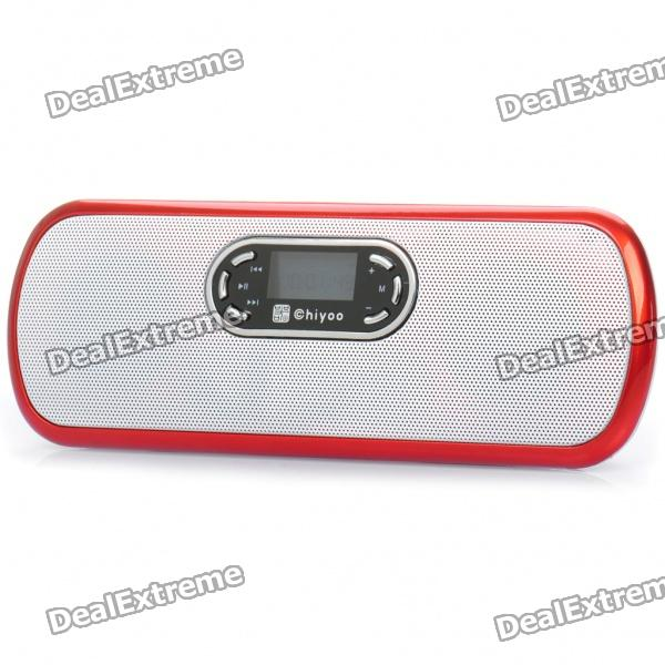"Portable 1.0"" LED USB Rechargeable Music Speaker Player with FM/TF - Lemon Red"