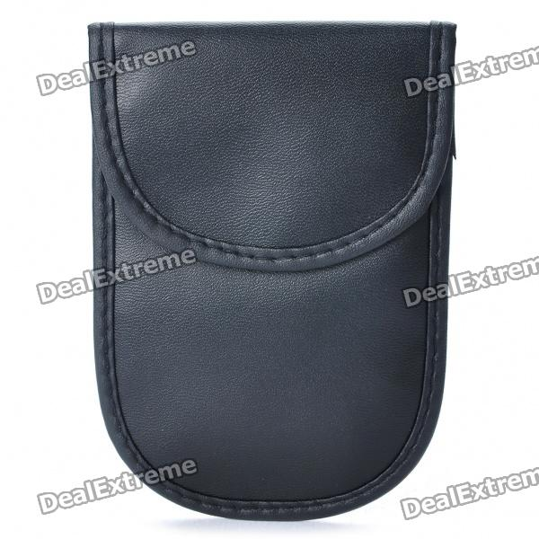 Double Layers Anti-radiation PU Leather Case for Cell Phone - Black universal nylon cell phone holster blue black size l