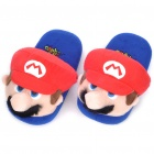 Cute Super Mario Style Warm Plush Slippers - Blue + Red (Pair)