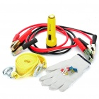 5-in-1 Car Positive and Negative Booster Cables + Flashlight + Gloves + Tow Rope + Fuses Kit