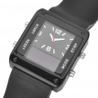 Square Digital + Analog Dual-Time Display Silicone Band LED Wristwatch for Man (1 x 377)