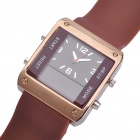 Square Digital + Analog Dual-Time Display Silicone Band LED Wristwatch - Brown + Silver (1 x 377)