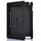 Protective 360 Degree Rotation Holder Silicone Case w/ Hand Strap & Holder for iPad / iPad 2 - Black