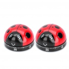 Cute Ladybug Style Kitchen Timer - Black + Red (Max. 1 Hour / Pair)