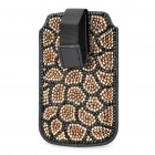 Shining Rhinestone Leopard Pattern Protective Genuine Leather Case Pouch for Cell Phone