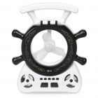 Rudder Style Multi-Function 16-LED White Lamp + Fan + MP3 Player Speaker w/ FM / TF - Black + White