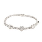 925 Silver Plated Plum Blossoms Crystal Bracelet