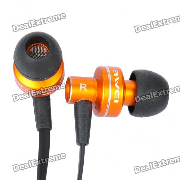 AWEI ES900i Stylish In-Ear Earphone w/ Microphone for Iphone 4 - Orange (3.5mm-Plug / 125cm-Cable) awei q7i stylish in ear earphone with microphone for iphone ipad more orange green