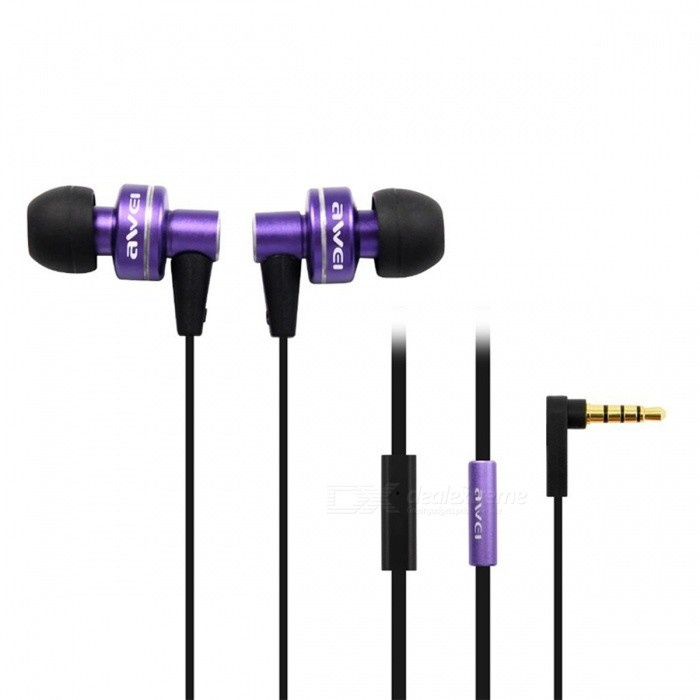 AWEI ES900i Stylish In-Ear Earphone w/ Microphone for Iphone 4 - Purple (3.5mm-Plug / 125cm-Cable) awei stylish in ear earphone with microphone for iphone ipad more black 3 5mm plug