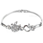 925 Silver Plated Apple Crystal Bracelet