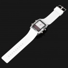 Square Digital + Analog Dual-Time Display Silicone Band LED Wristwatch - White + Silver (1 x 377)