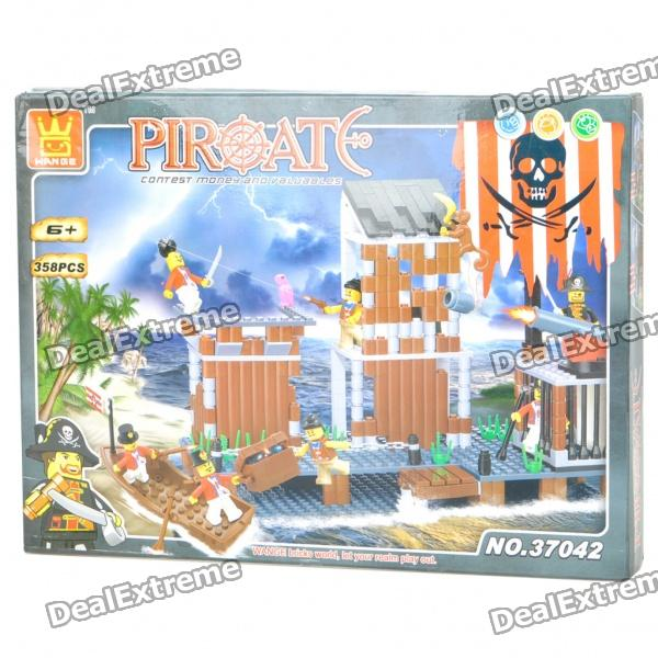 Intellectual Development DIY 3D Pirate Castle Toy Bricks Puzzle Set (358-Piece) kazi 1193pcs century military tank building blocks tank bricks educational bricks toy kids birthday gift toys for children 82010