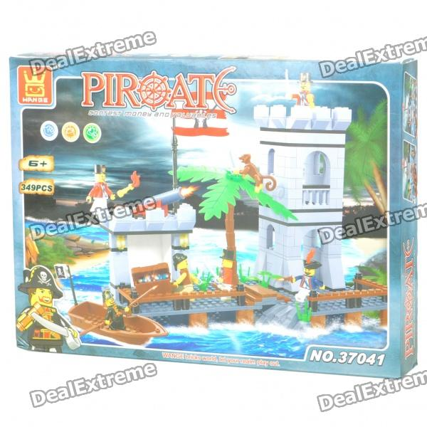 Intellectual Development DIY 3D Pirate Castle Toy Bricks Puzzle Set (349-Piece) kazi 1193pcs century military tank building blocks tank bricks educational bricks toy kids birthday gift toys for children 82010