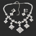 Elegant Square Pendant Rhinestone Necklace + Earrings Set - Silver