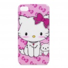 Protective Cartoon Cat Pattern Plastic Case for iPhone 4/4S - White + Pink