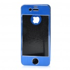 Protective Aluminum Alloy Front / Back Cover Stickers w/ Screen Guard for iPhone 4 / 4S - Dark Blue