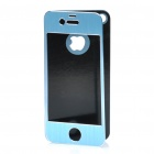 Protective Aluminum Alloy Front / Back Cover Stickers w/ Screen Guard for iPhone 4 / 4S - Blue