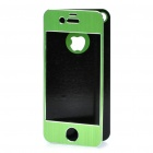 Protective Aluminum Alloy Front / Back Cover Stickers w/ Screen Guard for iPhone 4 / 4S - Green