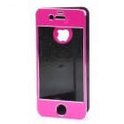 Protective Aluminum Alloy Front / Back Cover Stickers w/ Screen Guard for iPhone 4 / 4S - Deep Pink