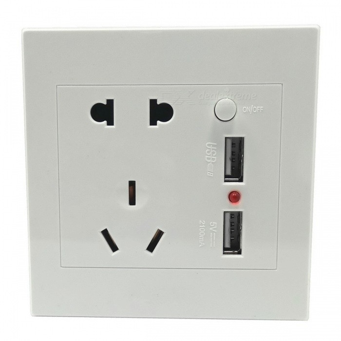 Wall Mount Power Socket Switch mit Dual-USB-Anschlüsse