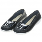 INCOME Stylish Genuine Cow Leather Casual Shoes - Black + White (Size-36)