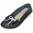 INCOME Stylish Genuine Cow Leather Casual Shoes - Black + White (Size-37)