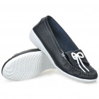 INCOME Stylish Genuine Cow Leather Casual Shoes - Black + White (Size-39)