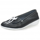 INCOME Stylish Genuine Cow Leather Casual Shoes - Black + White (Size-40)