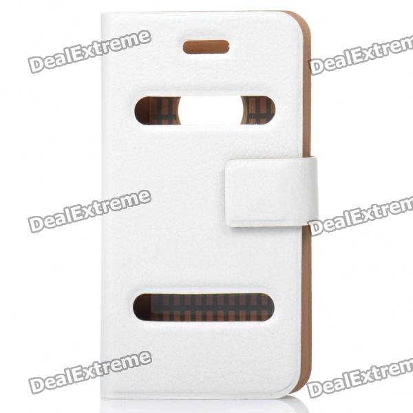 Ultra-Thin Protective PU Leather Flip-Open Case for Iphone 4 - White omo protective pu leather flip open case for iphone 4 4s white