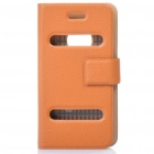 Ultra-Thin Protective PU Leather Flip-Open Case for iPhone 4 - Brown