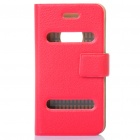 Ultra-Thin Protective PU Leather Flip-Open Case for Iphone 4 - Red