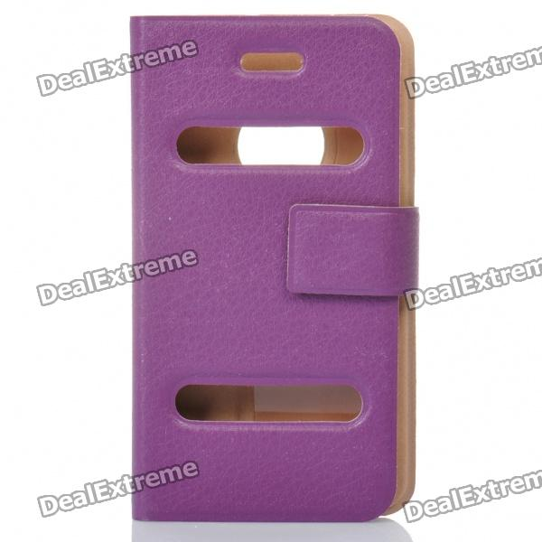 Ultra-Thin Protective PU Leather Flip-Open Case for Iphone 4 - Purple