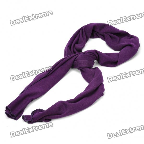Fashion Knitted Oblong Cotton Yarn Scarf Shawl - Purple