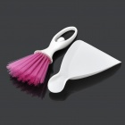 Car Air Outlet Vent Clean Brush + Dustpan Set - White + Deep Pink