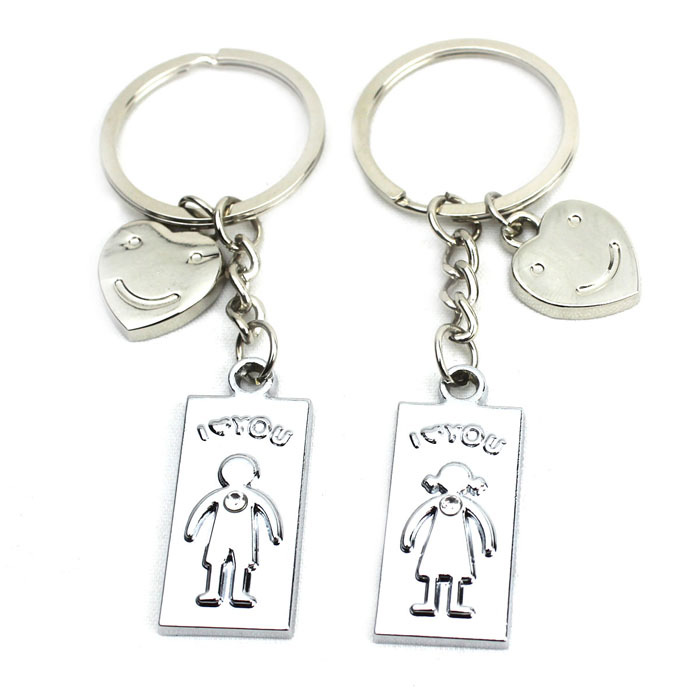 I-LOVE-YOU Smiley Face Stainless Steal Keychain for Couples (2-Piece Set) от DX.com INT