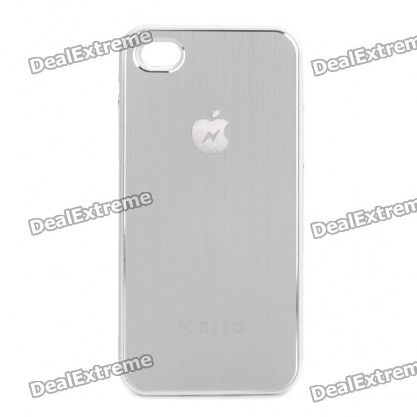 Stylish 2000mAh External Emergency Power Battery Back Case for iPhone - Silver + White
