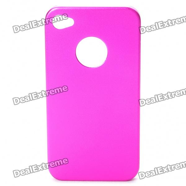 Protective Steel Back Case + Screen Guards + Cleaning Cloth Set for Iphone 4 / 4S - Rosy