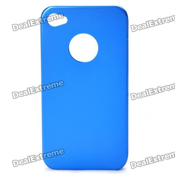 Protective Steel Back Case + Screen Guards + Cleaning Cloth Set for Iphone 4 / 4S - Deep Blue